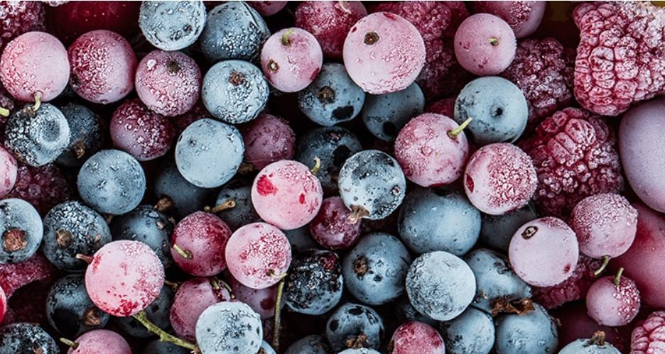 Berries frozen in a blast chiller