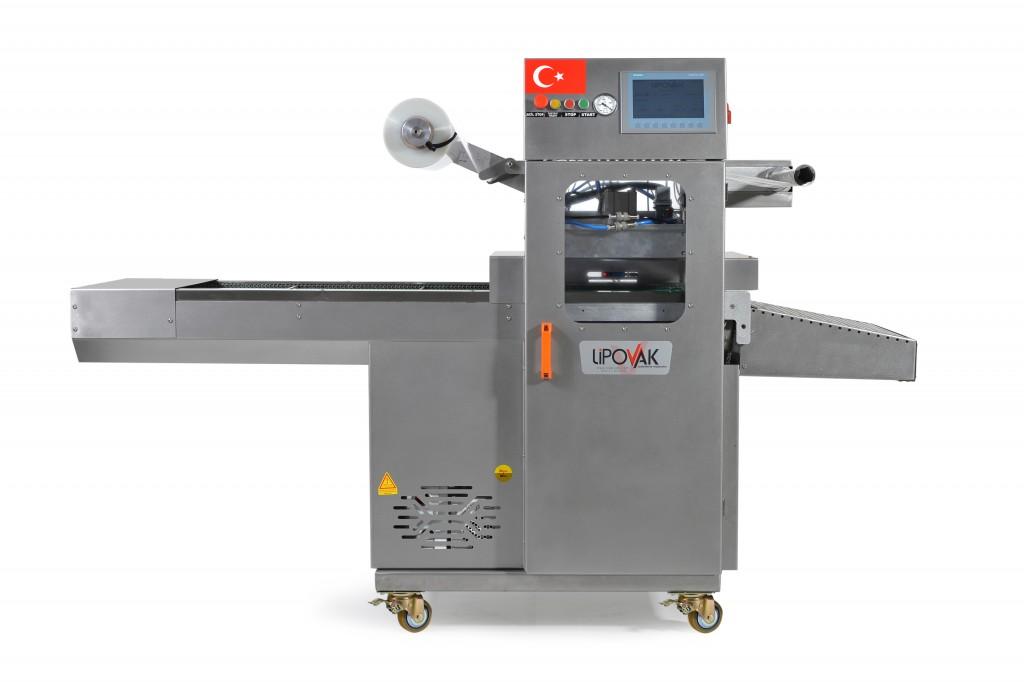 Автоматска машина за пакување на храна во МАП/automatic bowl closing machine for MAP